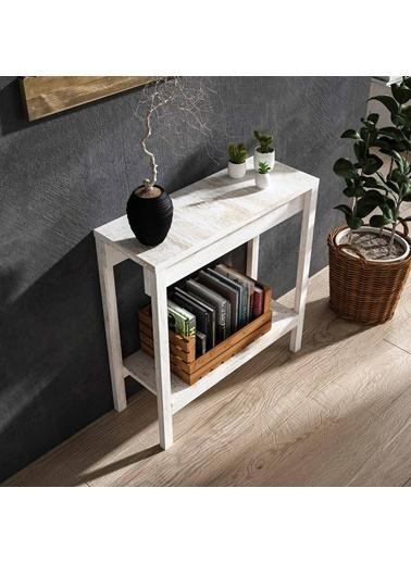 222 Concept Masif Ağaç Beyaz Renk 80x30 cm Dresuar CPT2705-80 Beyaz